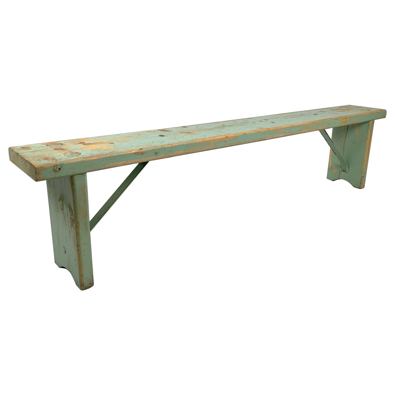 Vintage Industrial Wooden Bench, Original Paint, 1930s