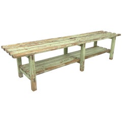 Vintage Industrial Wooden Bench, Original Paint, 1930s