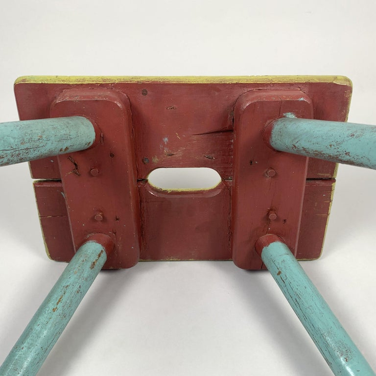 Vintage Industrial Wooden Stool, Original Paint, 1930s In Fair Condition For Sale In Praha, CZ
