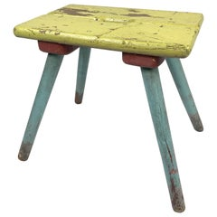 Vintage Industrial Wooden Stool, Original Paint, 1930s