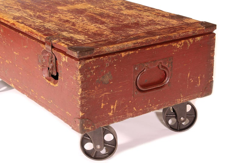 Vintage Industrial Wooden Toy Trunk Coffee Table on Castors For Sale 4