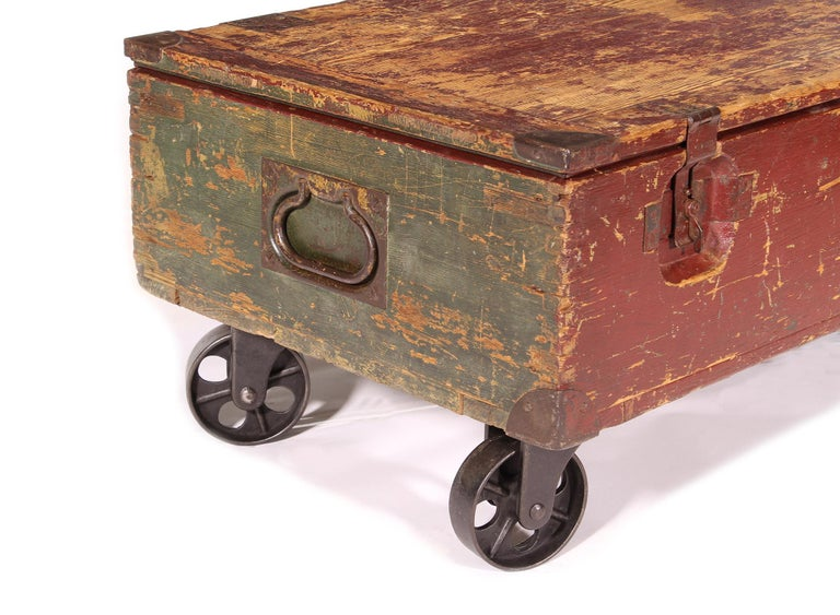 Vintage Industrial Wooden Toy Trunk Coffee Table on Castors For Sale 5