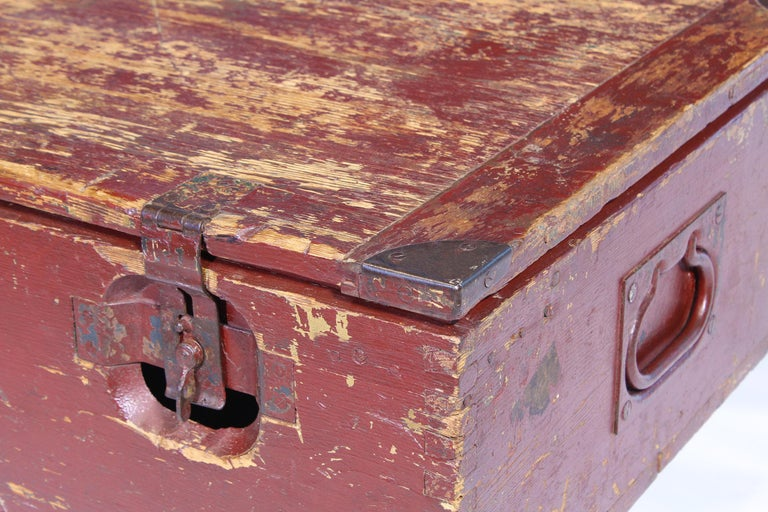 Vintage Industrial Wooden Toy Trunk Coffee Table on Castors For Sale 7