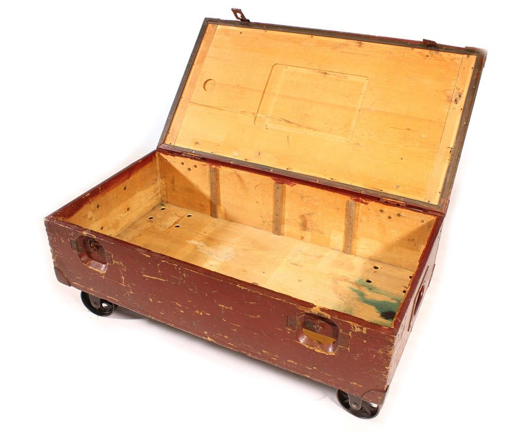 Vintage Industrial Wooden Toy Trunk Coffee Table on Castors For Sale 9