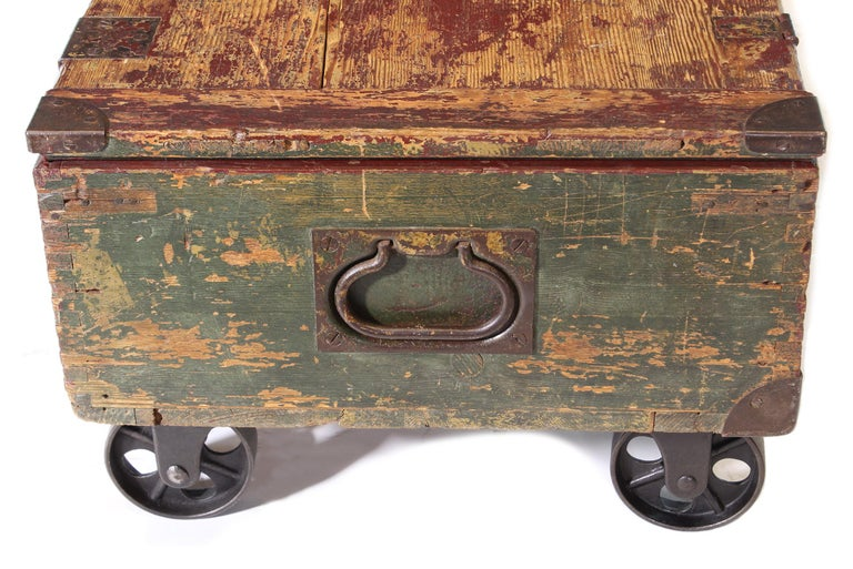 Vintage Industrial Wooden Toy Trunk Coffee Table on Castors For Sale 10