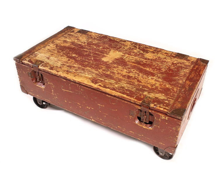 20th Century Vintage Industrial Wooden Toy Trunk Coffee Table on Castors For Sale
