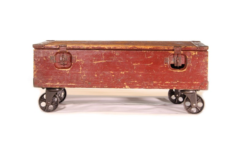 Metal Vintage Industrial Wooden Toy Trunk Coffee Table on Castors For Sale