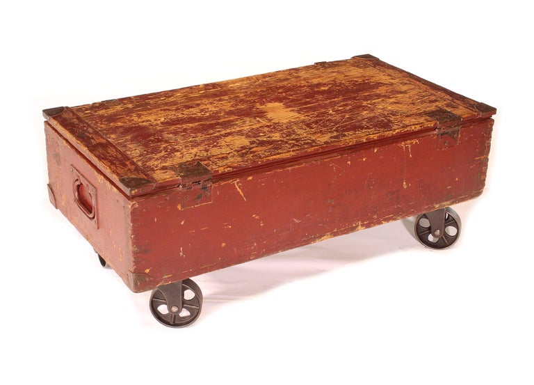 Vintage Industrial Wooden Toy Trunk Coffee Table on Castors For Sale 1