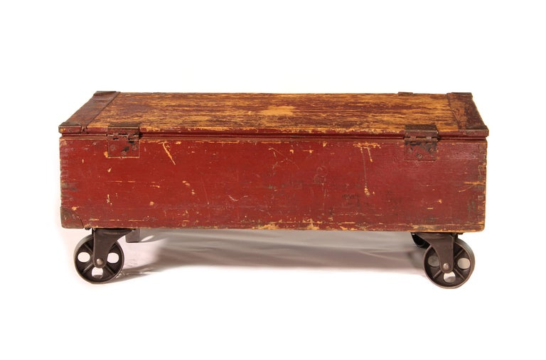Vintage Industrial Wooden Toy Trunk Coffee Table on Castors For Sale 2