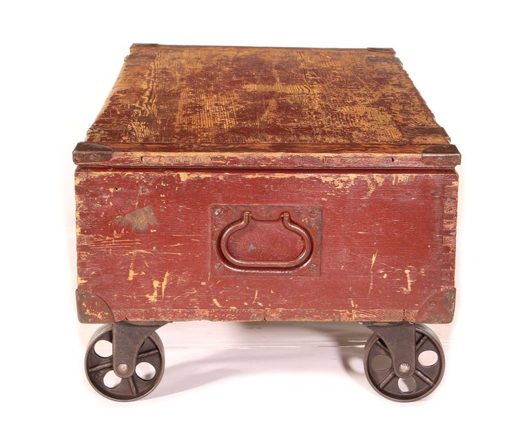 Vintage Industrial Wooden Toy Trunk Coffee Table on Castors For Sale 3