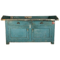 Vintage Industrial Workbench Kitchen Island with Zinc Top
