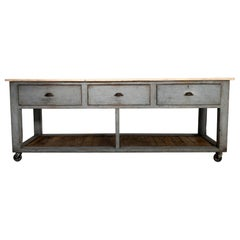 Vintage Industrial Workbench Worktable Kitchen Island