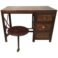 Vintage Industrial Writing Desk with Seat