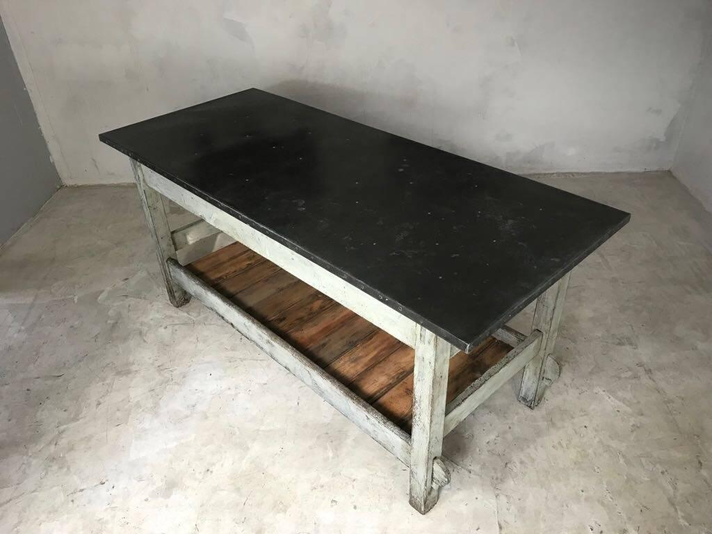 Vintage Industrial Zinc Top Work Table Kitchen Island Sideboard Potting  Table In Good Condition For Sale