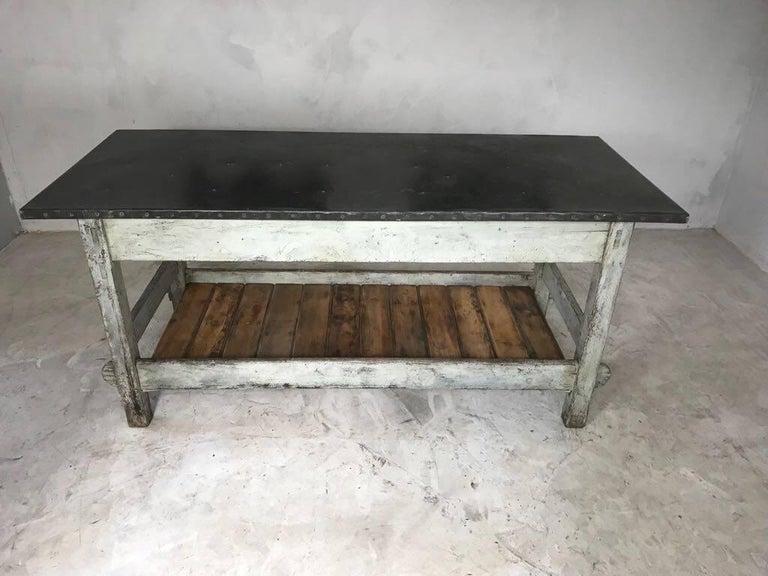 vintage industrial zinc top work table kitchen island
