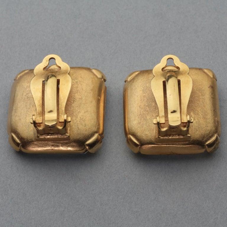 Vintage INES de la FRESSANGE Iconic Oak Leaf Crystal Earrings For Sale 6
