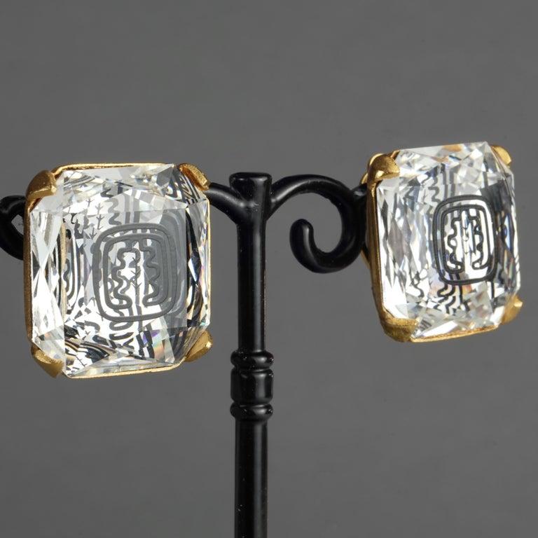 Vintage INES de la FRESSANGE Iconic Oak Leaf Crystal Earrings For Sale 1