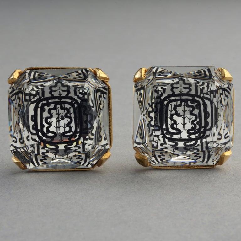 Vintage INES de la FRESSANGE Iconic Oak Leaf Crystal Earrings For Sale 2