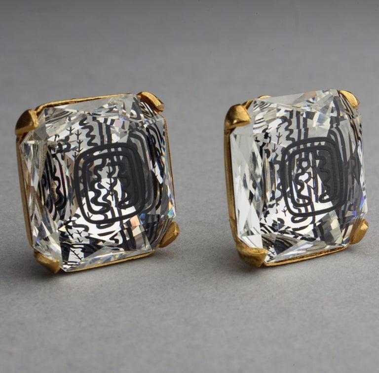Vintage INES de la FRESSANGE Iconic Oak Leaf Crystal Earrings For Sale 3