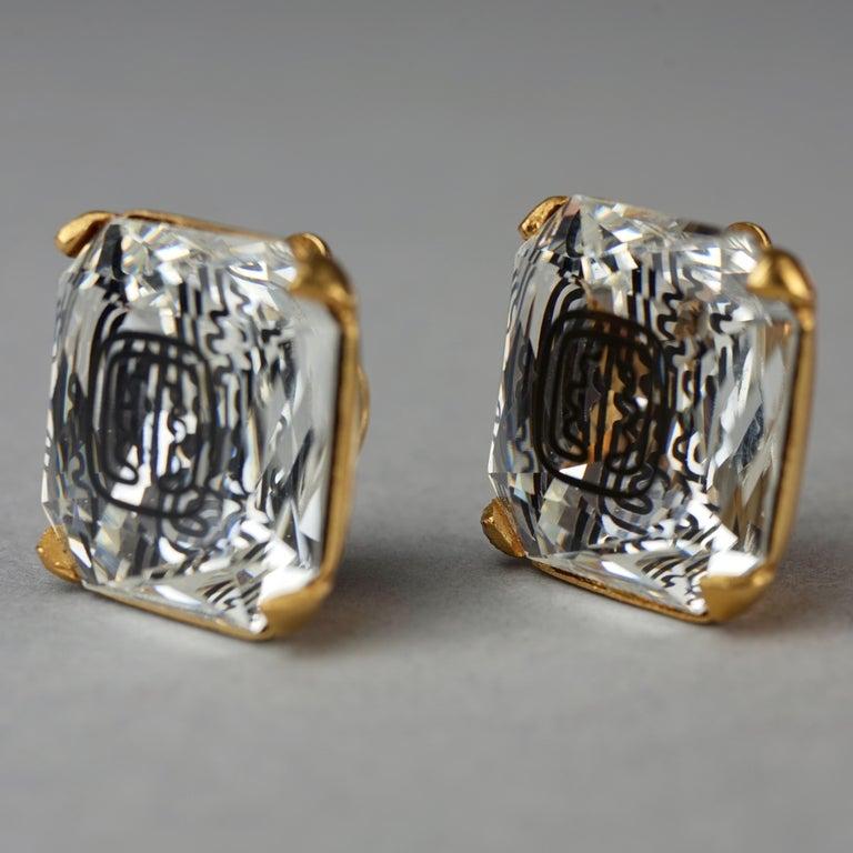 Vintage INES de la FRESSANGE Iconic Oak Leaf Crystal Earrings For Sale 4