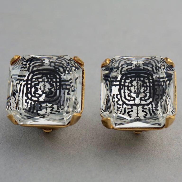 Vintage INES de la FRESSANGE Iconic Oak Leaf Crystal Earrings For Sale 5