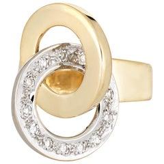 Vintage Infinity Knot Diamond Ring 18 Karat Yellow Gold Round Circles Jewelry
