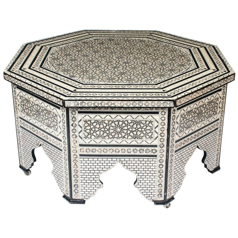 Vintage Inlaid Damascus Mother Of Pearl Coffee Table Mid