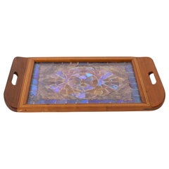 Vintage Inlaid Wood Tray with Morpheo Butterfly Wings, circa 1940s