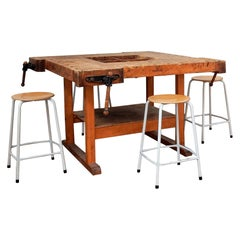 Vintage Insdustrial 4-Sided Workbench/Table by Nooitgedagt, 2 Available