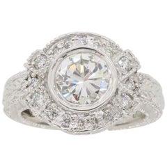 Vintage Inspired 1.27 Carat Diamond Ring Made in 14 Karat White Gold
