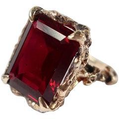 Vintage Inspired 14 Carat Gold Emerald Cut Garnet Cocktail Ring