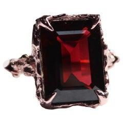 Vintage Inspired 14 Carat Rose Gold Emerald Cut Garnet Cocktail Ring