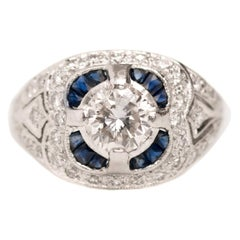Vintage Inspired 1.75 CTTW 1 Carat + Center Diamond Platinum French Cut Sapphire