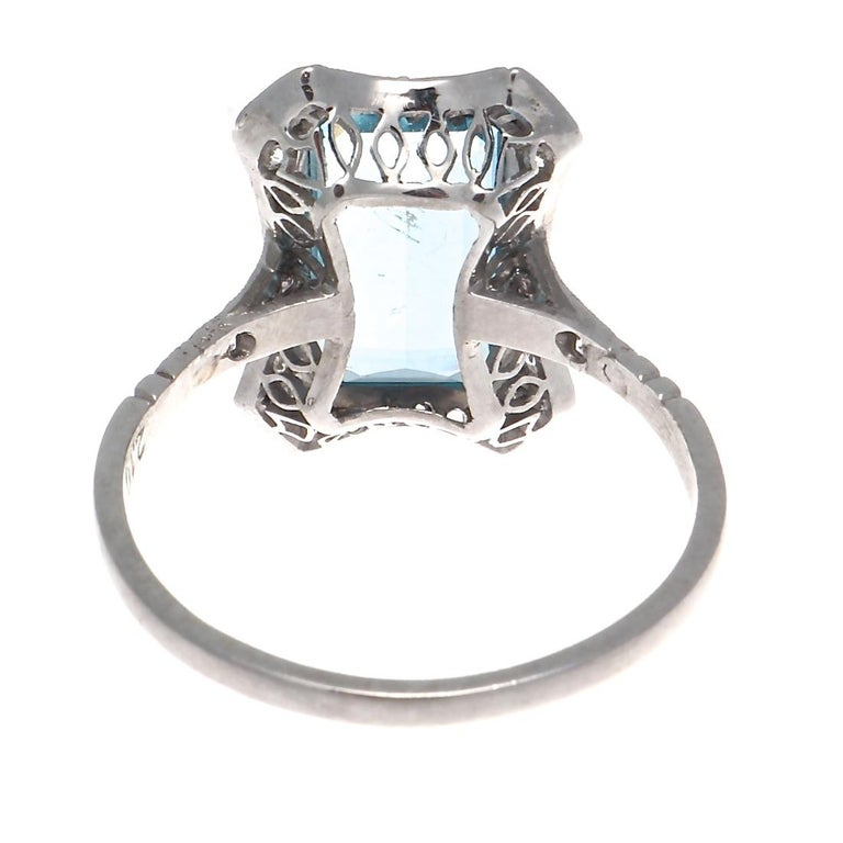 Vintage Inspired Aquamarine Diamond Platinum Ring In New Condition For Sale In Beverly Hills, CA
