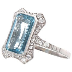 Vintage Inspired Aquamarine Diamond Platinum Ring