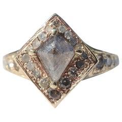 Vintage Inspired Halo Kite Diamond Ring in 14 Karat Gold