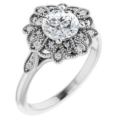 Vintage Inspired Cathedral Halo Round Brilliant GIA Certified Engagement Ring