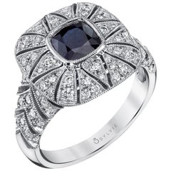 Vintage Inspired Cushion Sapphire Engagement Ring S1262