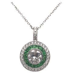 Vintage Inspired Diamond and Tsavorite Necklace