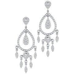 Vintage Inspired Diamond Chandelier Earrings 1.40 Carat