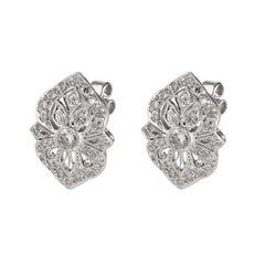 Vintage Inspired Diamond Earrings in 18K White Gold 1.32 CTW