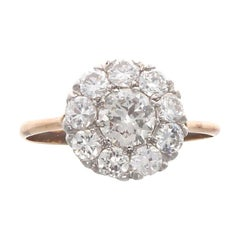 Edwardian Diamond Gold Cluster Ring