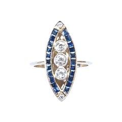 Vintage Inspired Diamond Sapphire Gold Navette Ring