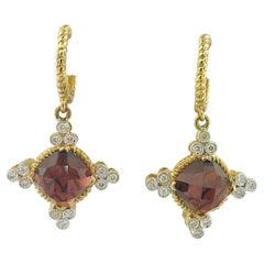 Vintage Inspired Genuine Garnet and Diamond Earring Dangles in 14K Yellow Gold