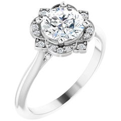 Vintage Inspired Halo Design GIA Certified Round Diamond Wedding Engagement Ring