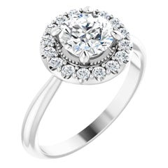 Vintage Inspired Halo Diamond Accented GIA Certified Engagement Ring