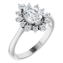 Vintage Inspired Halo Diamond Accented Pear Shape GIA Certified Engagement Ring