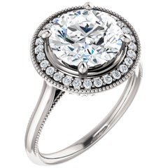 Vintage Inspired Halo Diamond Accented Round GIA Certified Engagement Ring