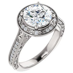 Vintage Inspired Halo Filigree Diamond Accented GIA Round Cut Engagement Ring