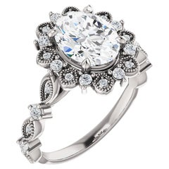Vintage Inspired Halo Style Oval Diamond GIA Certified Engagement Wedding Ring